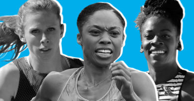 Allyson Felix, Alysia Montaño, and Phoebe Wright